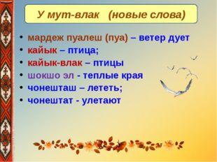 У мут-влак (новые слова) мардеж пуалеш (пуа) – ветер дует кайык – птица; кайы