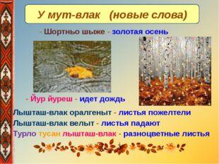 У мут-влак (новые слова) - Лышташ-влак оралгеныт - листья пожелтели - Лышташ-