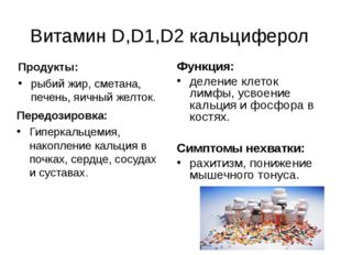 Витамин D,D1,D2 кальциферол Продукты: рыбий жир, сметана, печень, яичный желт