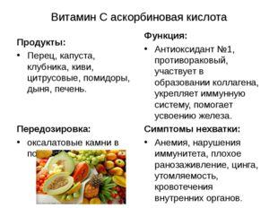 Витамин С аскорбиновая кислота Продукты: Перец, капуста, клубника, киви, цитр