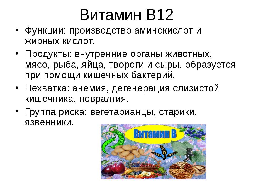 Витамин В12 Функции: производство аминокислот и жирных кислот. Продукты: внут...