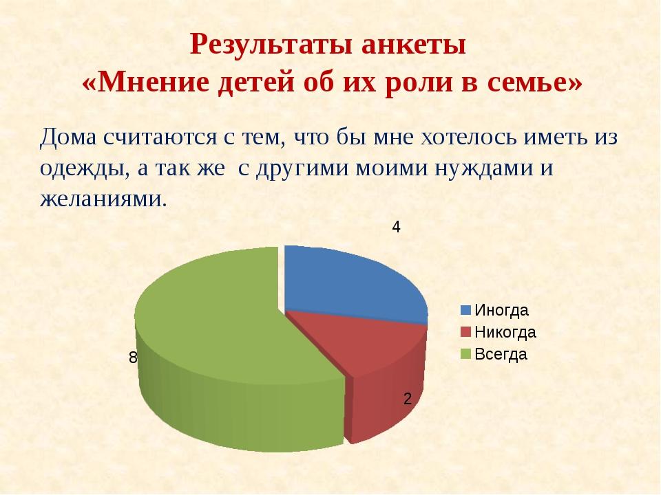 Результаты анкеты «Мнение детей об их роли в семье» Дома считаются с тем, что...