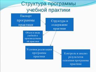 Структура программы учебной практики Паспорт программы практики Объем и виды