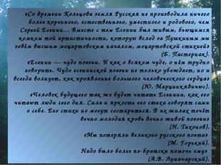«Со времени Кольцова земля Русская не производила ничего более коренного, ест