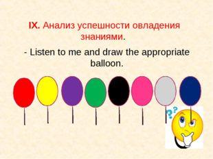 IX. Анализ успешности овладения знаниями. - Listen to me and draw the appropr