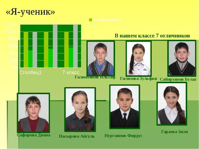«Я-ученик» В нашем классе 7 отличников Галимзянов Ильсаф Гилязова Зульфия Саб...