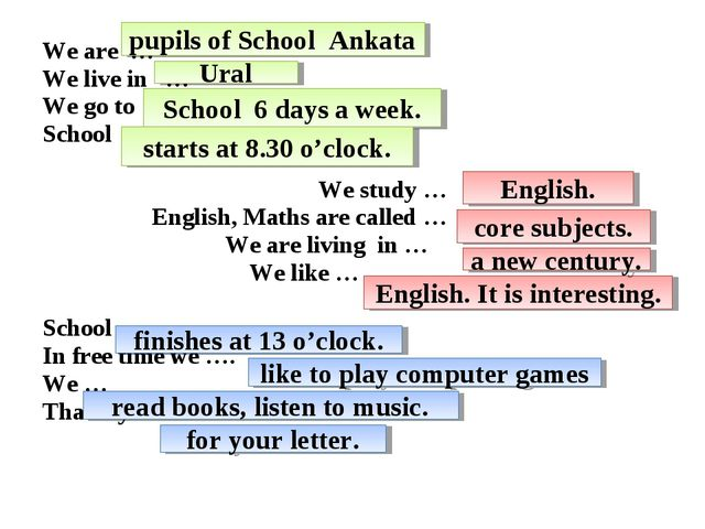 We are … We live in … We go to … School … We study … English, Maths are call...