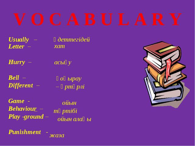 V O C A B U L A R Y Usually – әдеттегідей Letter – Hurry – Bell – Different –...