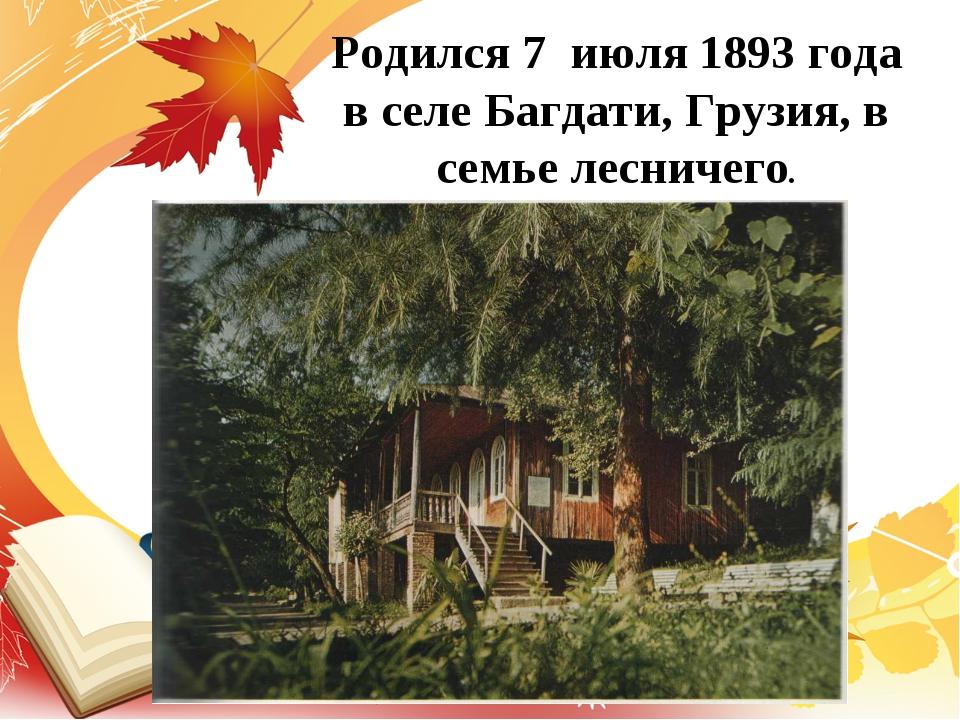 Родился 7 июля 1893 года в селе Багдати, Грузия, в семье лесничего.