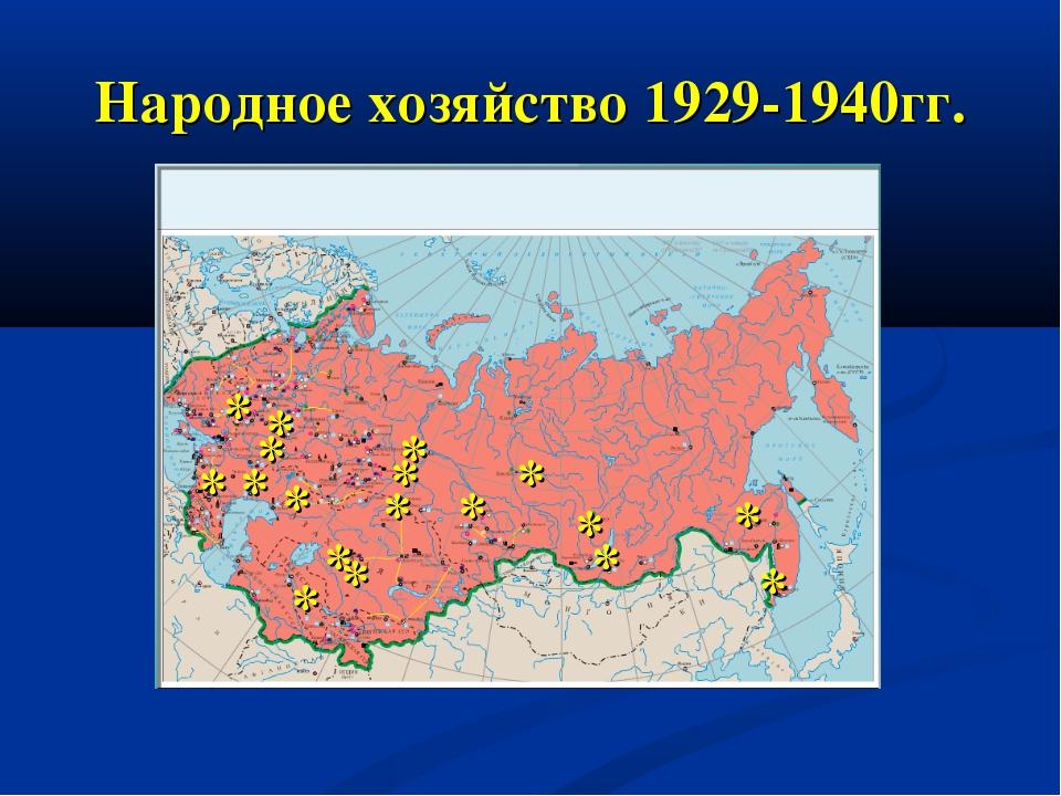 Народное хозяйство 1929-1940гг. * * * * * * * * * * * * * * * * * *