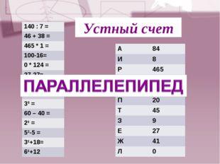 Устный счет 140 : 7 = 46 + 38 = 465 * 1 = 100-16= 0 * 124 = 27-27= 54 : 2 = 0