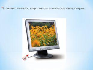 2. Назовите устройство, которое выводит из компьютера тексты и рисунки.