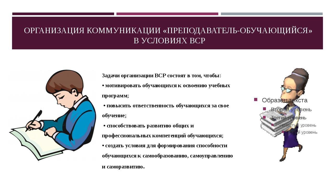Задачи организации ВСР состоят в том, чтобы: • мотивировать обучающихся к осв...
