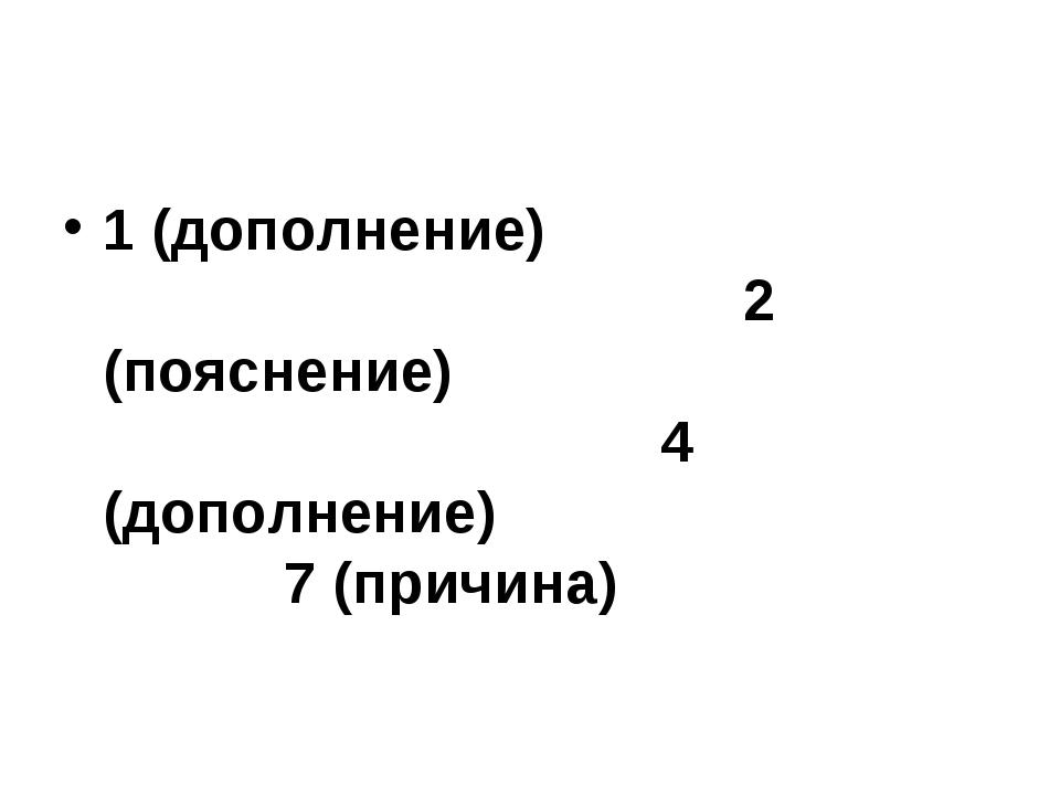 1 (дополнение) 2 (пояснение) 4 (дополнение) 7 (причина)
