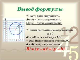 Вывод формулы Пусть дана окружность. А(а;b) – центр окружности, С(х ; у) – то