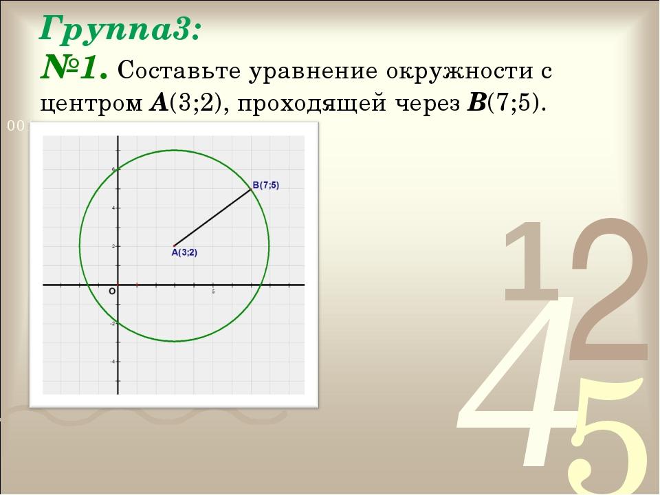 Группа3: №1. Составьте уравнение окружности с центром А(3;2), проходящей чере...
