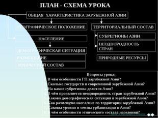 ПЛАН - СХЕМА УРОКА ОБЩАЯ ХАРАКТЕРИСТИКА ЗАРУБЕЖНОЙ АЗИИ ГЕОГРАФИЧЕСКОЕ ПОЛОЖЕ