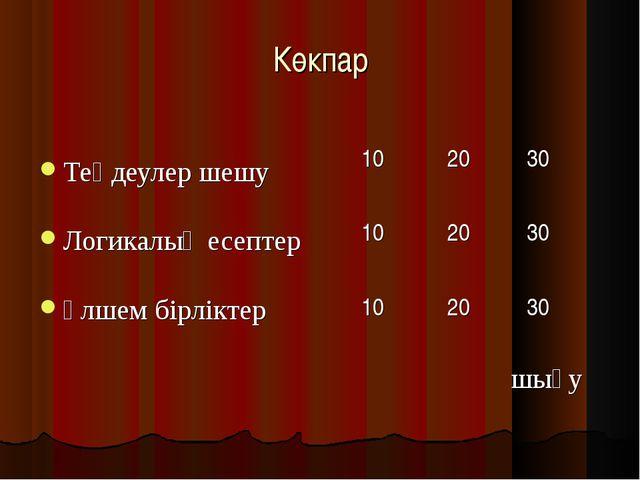 Көкпар Теңдеулер шешу Логикалық есептер өлшем бірліктер шығу 102030 10203...