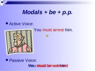 Modals + be + p.p. Active Voice: You must arrest him. Passive Voice: You must