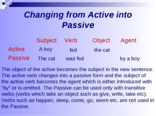 Changing from Active into Passive The object of the active becomes the subjec