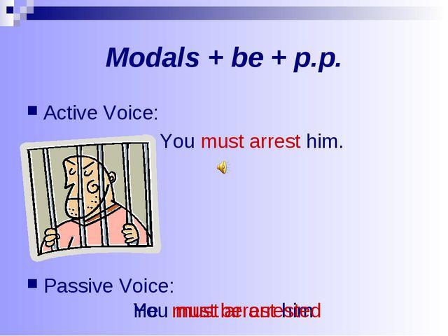 Modals + be + p.p. Active Voice: You must arrest him. Passive Voice: You must...
