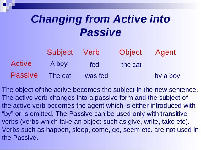 Changing from Active into Passive The object of the active becomes the subjec...