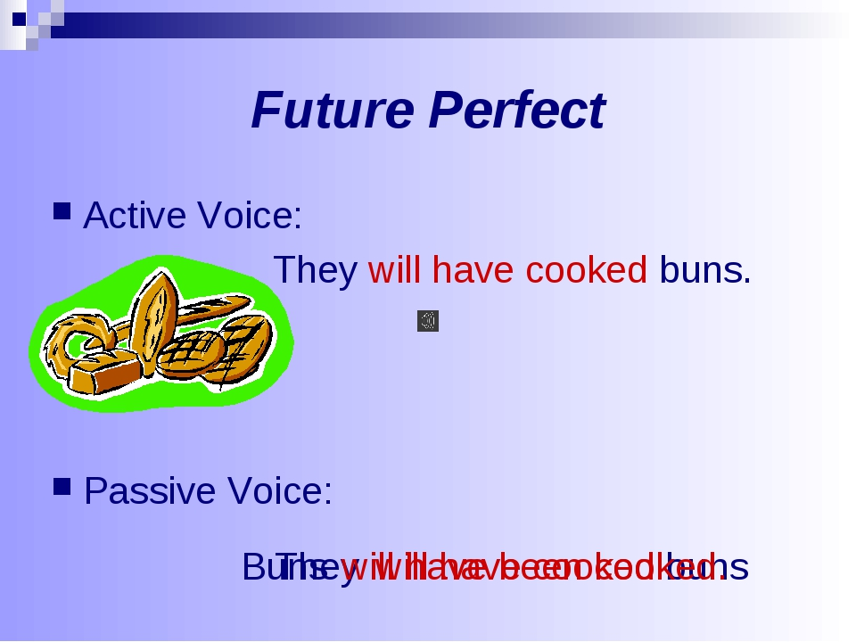 Future Perfect Active Voice: They will have cooked buns. Passive Voice: They...