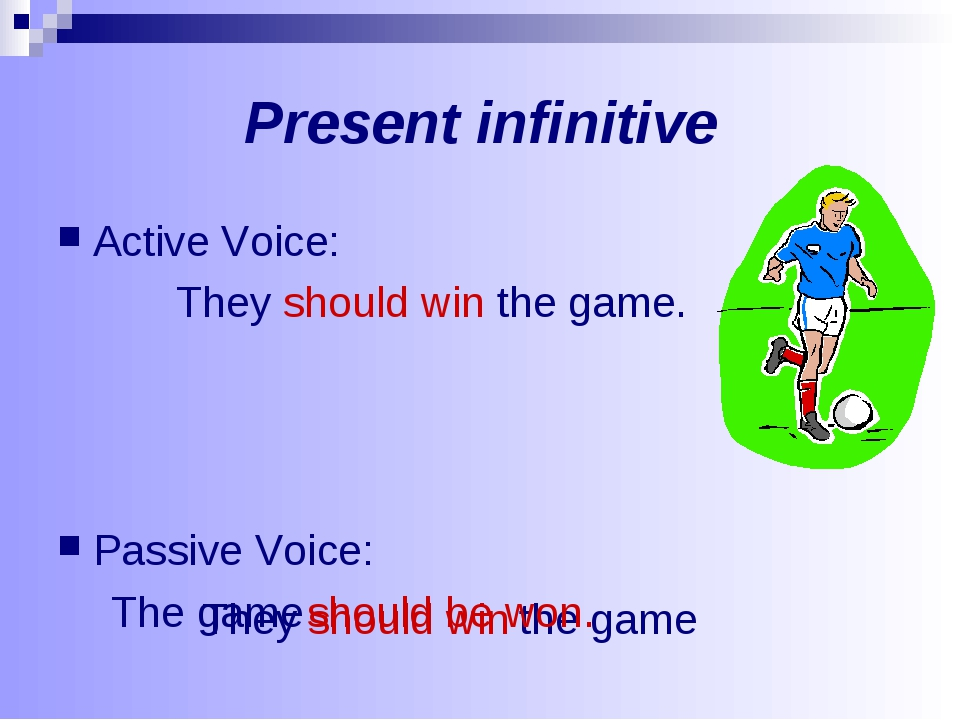 Present infinitive Active Voice: They should win the game. Passive Voice: The...