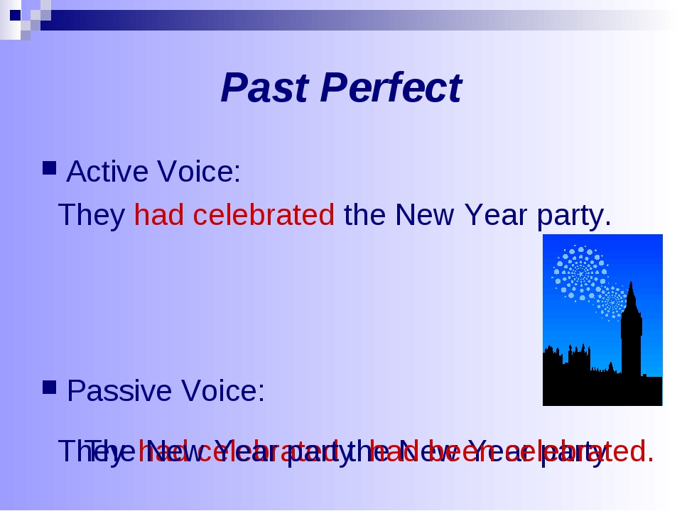 Past Perfect Active Voice: They had celebrated the New Year party. Passive Vo...