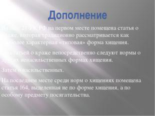 Дополнение В главе 21 УК РФ на первом месте помещена статья о краже, которая