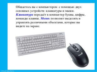 Общаетесь вы с компьютером с помощью двух основных устройств: клавиатуры и мы