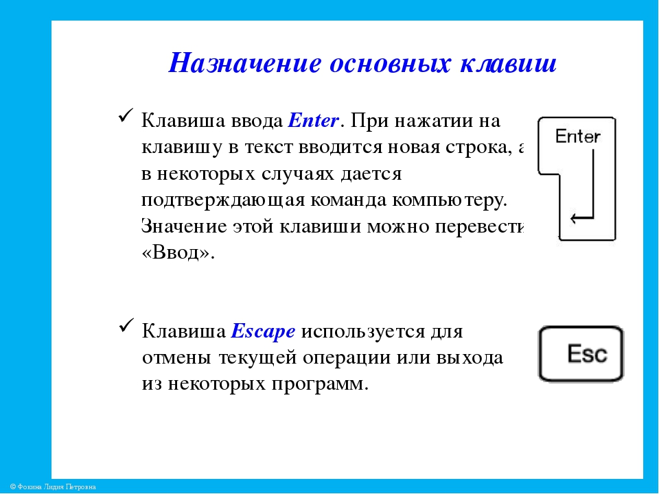 Назначение основных клавиш Клавиша ввода Enter. При нажатии на клавишу в текс...