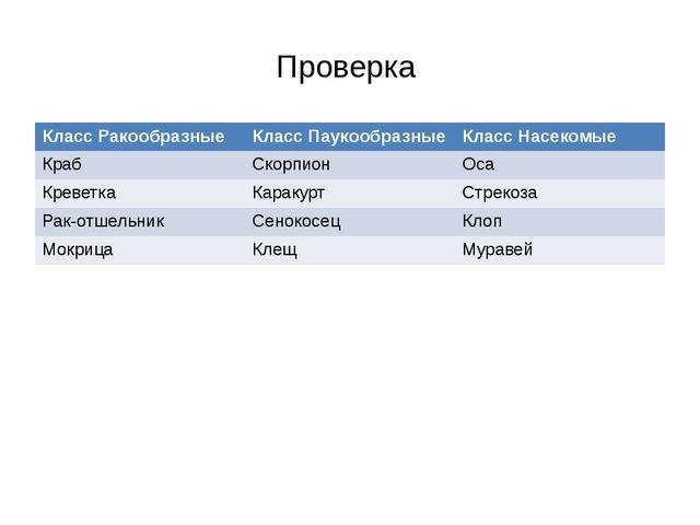 Проверка Класс Ракообразные Класс Паукообразные Класс Насекомые Краб Скорпион...