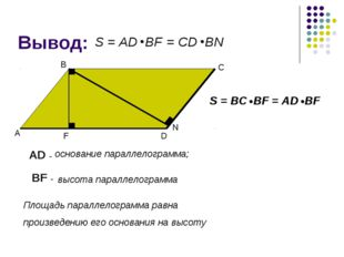 Вывод: А В С D F AD - основание параллелограмма; BF - высота параллелограмма