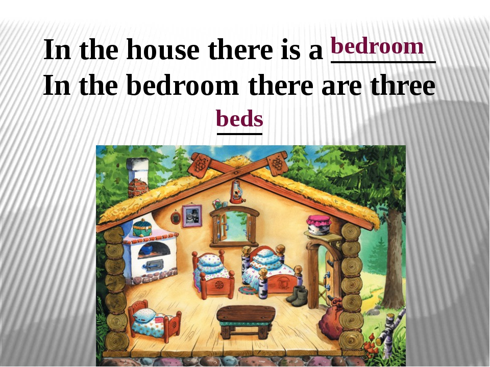 In the house there is a _______ In the bedroom there are three ___ bedroom beds