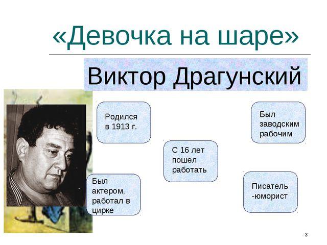 «Девочка на шаре» Виктор Драгунский Родился в 1913 г. С 16 лет пошел работать...