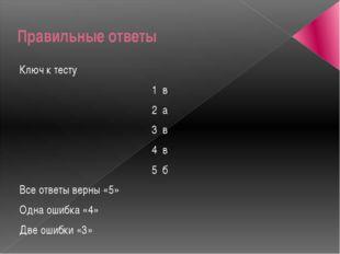 Правильные ответы Ключ к тесту 1 в 2 а 3 в 4 в 5 б Все ответы верны «5» Одна