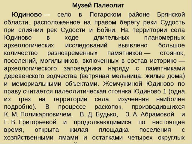 Музей Палеолит Юдиново— село в Погарском районе Брянской области, расположен...