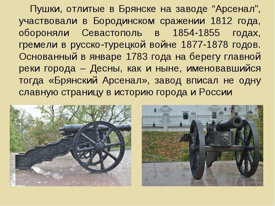 """Пушки, отлитые в Брянске на заводе """"Арсенал"""", участвовали в Бородинском сраже..."""