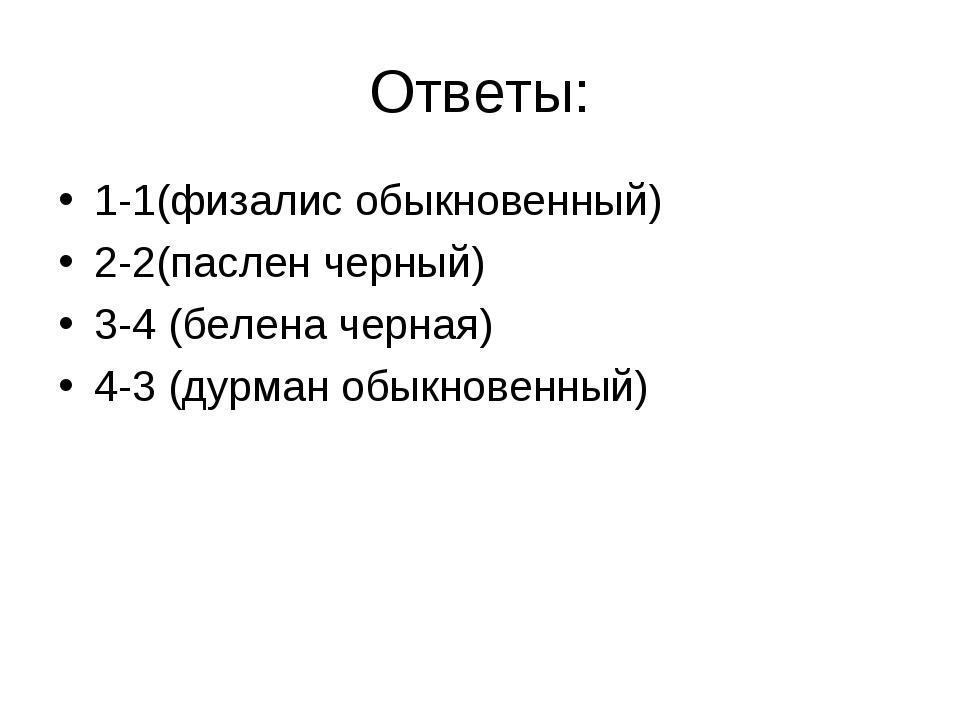Ответы: 1-1(физалис обыкновенный) 2-2(паслен черный) 3-4 (белена черная) 4-3...
