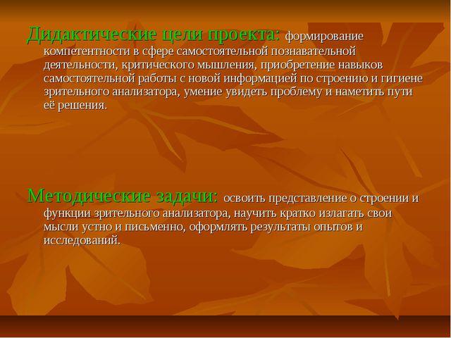 Дидактические цели проекта: формирование компетентности в сфере самостоятельн...