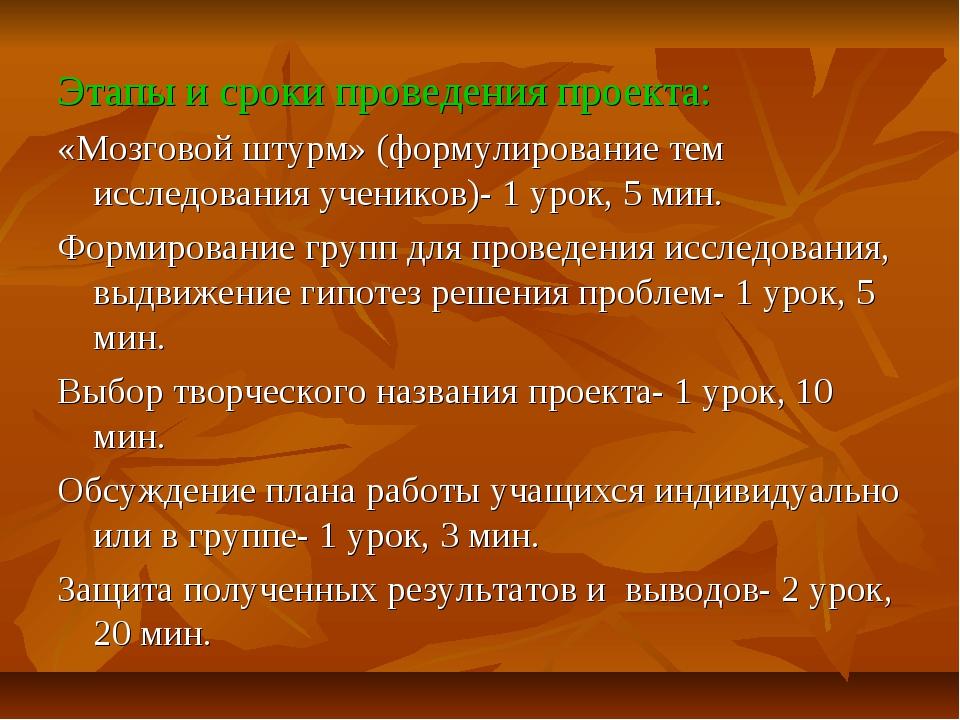 Этапы и сроки проведения проекта: «Мозговой штурм» (формулирование тем исслед...