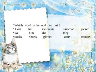 Which word is the odd one out ? Coat hat ice-cream raincoat jacket We him sh