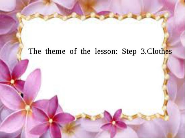 The theme of the lesson: Step 3.Clothes