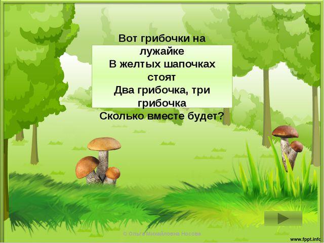 2 + 3 = 5 Вот грибочки на лужайке В желтых шапочках стоят Два грибочка, три г...