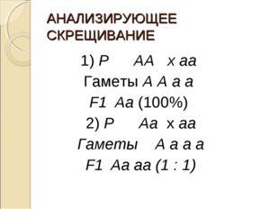 АНАЛИЗИРУЮЩЕЕ СКРЕЩИВАНИЕ 1) РАА х аа Гаметы А А а а F1Аа (100%) 2) РАа х