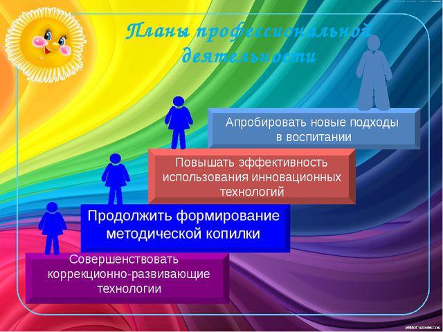 Планы профессиональной деятельности Апробировать новые подходы в воспитании П...
