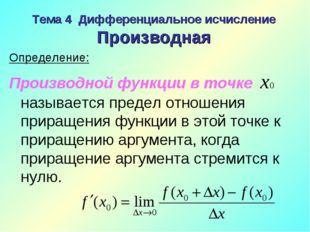 Тема 4 Дифференциальное исчисление Производная Определение: Производной функц