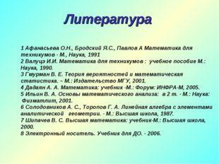 Литература 1 Афанасьева О.Н., Бродский Я.С., Павлов А Математика для техникум