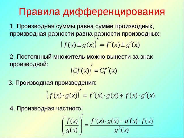 Правила дифференцирования 1. Производная суммы равна сумме производных, произ...